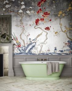 Let us introduce our new Tweed cast iron bath, based on the Bateau Bath design of the century, painted in a beautiful green pastel… Home Interior, Bathroom Interior, Interior And Exterior, Interior Decorating, Modern Bathroom, Bathroom Mural, Bathroom Tubs, Boho Bathroom, Bathroom Trends