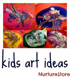 Great kids painting ideas...Idea for painting with Q-tips (pointillism)