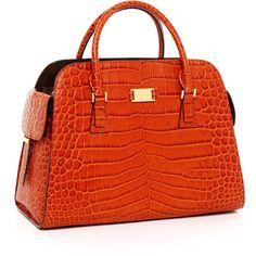 5f4488b6102bb7 OK I AM LOVIN THIS BAG - VIVIAN Michael Kors Gia Crocodile-Embossed Leather  Satchel
