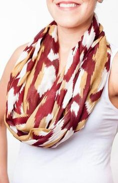 Super cute! Indian Garnet & Gold Print Infinity Scarf Scarf Game Day Girl Stuff - Bows…
