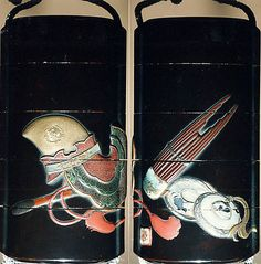 Case (Inrô) with Design of Bugaku Hat (obverseI; Shô Flute and Cymbals (reverse)  Period: Edo period (1615–1868) Date: 19th century Culture: Japan Medium: Sprinkled gold lacquer with inlaid mother-of-pearl, pottery, and pewter; Interior: nashiji and fundame; Ojime: marble; Netsuke: wood with lacquer decoration of books