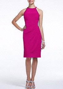 This is cute but would have to try it on to see if your bra shows in the back. A stylish, short and chic bridesmaid dress that is a flattering look from the bridal party to a cocktail party!  Sleeveless bodice features round illusion mesh neckline.  Ultra-feminine body con fit with side cascade and back ruching finishes off the look.  Fully lined. Back zip. Imported polyester. Dry clean.  To protect your dress, try our Non Woven Garment Bag.