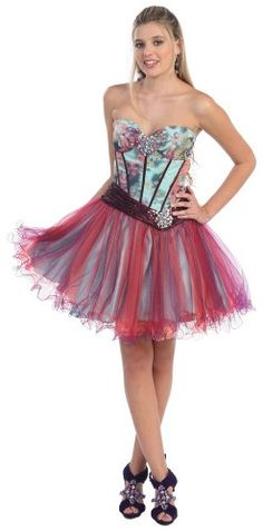 Strapless Cocktail Party Junior Prom Short Printed « Dress Adds Everyday