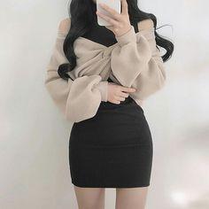 Korean Fashion Dress, Ulzzang Fashion, Kpop Fashion Outfits, Korean Outfits, Girly Outfits, Cute Casual Outfits, Pretty Outfits, Stylish Outfits, Casual Clothes