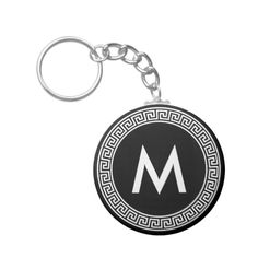 Greek Key Design Monogram Keychain