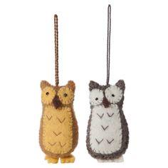 Felt Ornament Owl Set Of 2