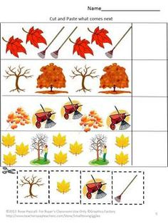 Falling Autumn Leaves Cut and Paste Worksheet Set-Pre-K, K, Special Education. What can be more fun in the fall for children then playing in the falling leaves. With this packet, Falling Autumn Leaves, students can enjoy learning with the 15 cut and paste worksheets using colorful fall leaves.