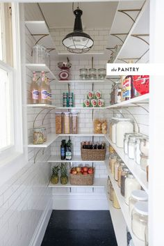 Same size as my pantry and same spot for light fixture, like the L-shape, maybe with jadite color on walls and white shelves...and my pumpkin light fixture, my mouth is watering!