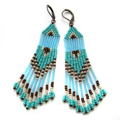 Turquoise seed bead earring beadwork jewelry by Anabel27shop