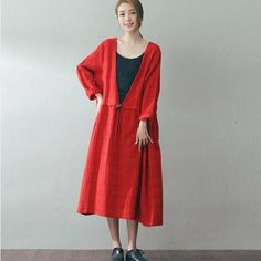 Women long sleeve loose plaid deep v neck pullover red cotton dresses