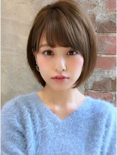 Pin by Fred Johnson on Sweaters 2 in 2019 Short Bob Hairstyles, Summer Hairstyles, Pretty Hairstyles, Girl Short Hair, Short Hair Cuts, Medium Hair Styles For Women, Korean Short Hair, Shot Hair Styles, Queen Hair