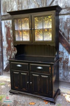 Marcie's Black Hutch – Tuesday's Treasures – FunCycled Distressed Hutch, Black Distressed Furniture, Black Painted Furniture, Refurbished Furniture, Repurposed Furniture, Hutch Redo, Hutch Makeover, Furniture Makeover, Chalk Paint Hutch