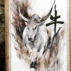 """""""OX"""" Watercolour on Canson watercolour paper size 42,0x59,4 cm 200 gsm. The Ox (丑) is the 2nd of the 12-year cycle -"""