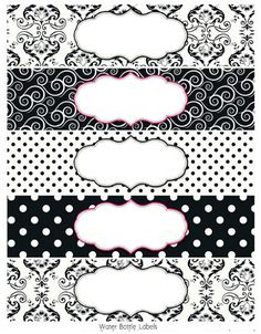 Black And White Damasks: Free Printable Toppers And Labels inside Black And White Label Templates Party Printables, Free Printables, Printable Tags, Printable Water Bottle Labels, Jar Labels, White Damask, Label Templates, Binder Covers, Vintage Labels