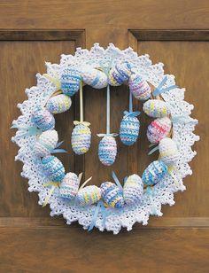 Crochet Happy Easter Wreath Free Pattern #CrochetEaster