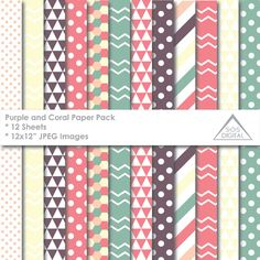 Purple and Coral Patterns Paper Pack, Digital Papers, Chevron, Polka dots, Stripe, printable, Small Commercial Use Patterns, green coral  ~ 12 JPEG