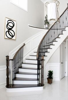 Interior Fantastic Picture Of Curved Cool Staircase Design And Decoration Using Black Wrought Iron Staircase Spindles Including Solid Cherry Wood Staircase Handrail And All White Staircase Wall Paint : Classy Images Of Cool Staircase Design. Banisters, In Staircase Spindles, Wrought Iron Staircase, Painted Staircases, Iron Stair Railing, Curved Staircase, Painted Stairs, Staircase Design, Staircase Ideas, Iron Spindles