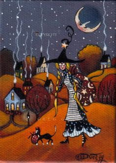 """Halloween - """"Something Goofy This Way Comes"""" small painting by Deborah Gregg"""