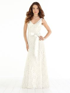 Full-length V-neck lace beach wedding dress has sweep train and matching ribbon belt.  http://www.dessy.com/dresses/wedding/1018/