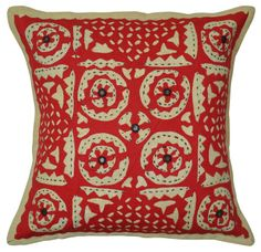 Indian Cotton Embroidered Mirror Cushion Cover Decor Cut Work Pillow Case Covers