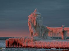winter, lake michigan, lighthouses, sunset, natural wonders, frozen lighthous, lakes, ice sculptures, place