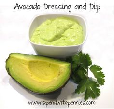 Avocado Dressing and Dip! Delicious, healthy and very easy! Levek Pendergrass with pennies r-woofwoof mama Avocado Dressing, Avocado Dip, Avocado Recipes, Healthy Recipes, Healthy Fats, Dip Recipes, Eating Healthy, Easy Recipes, Healthy Living