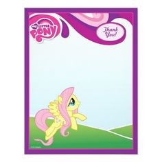 My Little Pony Fluttershy Thank You 4.25x5.5 Paper Invitation Card