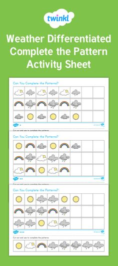 This weather themed activity  is a great way for children to practice pattern skills. The resource features three different types of patterns, each with cute weather themed illustrations. The resource can be laminated to make it a lasting addition to your math center.