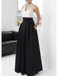 Black V-Neck Taffeta Evening Dress