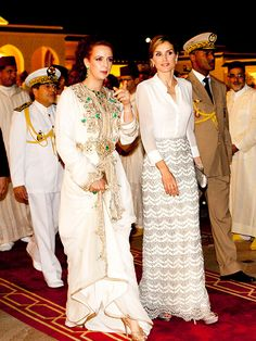 Princess Lalla Salma and Queen Letizia at the state banquet