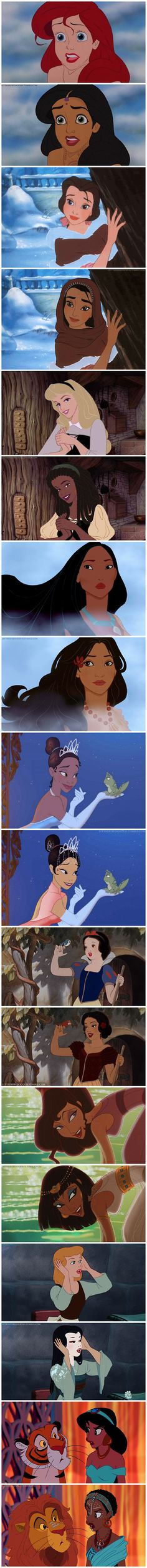 Love these Disney princesses with different races!