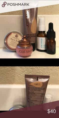"Josie Maran Argan Oil lot What you see pictured is all included. The tinted moisturizer color is ""light"" only used once. The Argan oil and sunscreen never used. Lip balm (pink bottle) used maybe three times as well as the Argan balm. josie maran Makeup Face Primer"