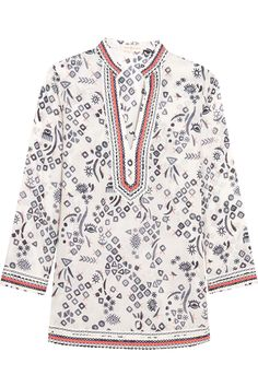 TORY BURCH Printed Cotton-Voile Tunic. #toryburch #cloth #tunic
