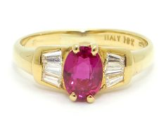 18k Yellow Gold 1ct Oval Red Ruby Baguette Cut Diamond Solitaire With Accents Engagement Anniversary Promise Ring Size 5 by AntiqueJewelryLine on Etsy