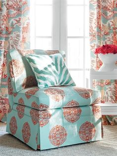 Thibaut Halie Embroidery Aqua-Coral W736101. Roomset shown in same or different colourway.