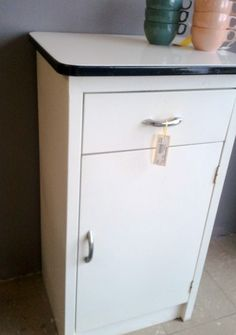 Vintage Kitchen Sink Cabinet vintage kitchen sink / cabinet -enamel steel w/ drawers | vintage