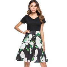 Women s Short Sleeve Casual Black Floral Dress c7fa2e21a