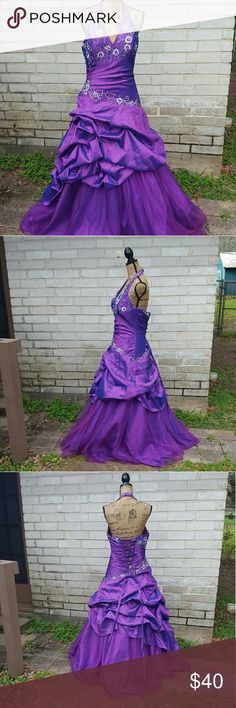 Purple Halter Corset Back Ballgown Prom Dress 14 Johnny brand beautiful jewel tone purple ball gown with silver embellishing, pickup style skirt and corset back with modesty panel. Halter at neckline.  Excellent condition .  Side zip closure. Tagged size