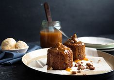 Sticky Date Pudding with Butterscotch Sauce aka Sticky Toffee Pudding Sticky Date Cake, Sticky Toffee Pudding, Just Desserts, Delicious Desserts, Dessert Recipes, Yummy Food, Baking Recipes, Yummy Treats, Sweet Treats