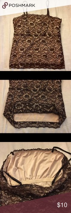 Brown lace cami/shell FULLY LINED GUC cami that is fully lined with a tan slip. Built in support bra and adjusts straps! No tears or stains! New York & Company Intimates & Sleepwear Chemises & Slips