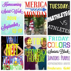 Homecoming 2014 Spirit Week Theme Days