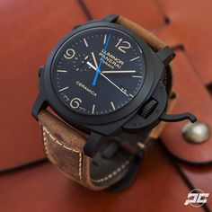 Panerai PAM580 1950's Luminor Chrono Flyback Ceramica. The black Ceramic and Brown Assolutamente strap just make me go wow. Throw in the blue hand of the Chrono and I think we have a winner.