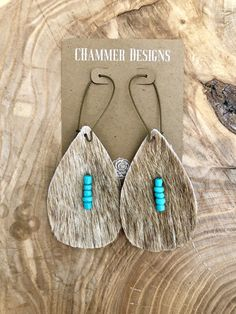 Excited to share this item from my shop: Tan Cowhide Turquoise Beads Fringe Dangle Earrings Diy Leather Earrings, Leather Jewelry, Leather Craft, Women's Earrings, Earrings Online, Punk Jewelry, Skull Jewelry, Ethnic Jewelry, Bohemian Jewelry