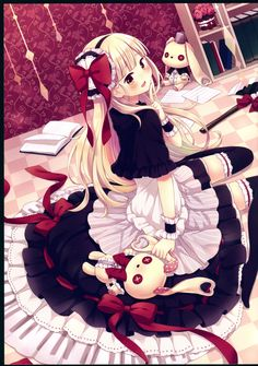 Mayu from vocaloid. Aw my sweety yand is so pretty in a new lolita outfit (and without blood's spot . Anime Neko, Manga Anime, Yandere Anime, Manga Art, Kawaii Anime, Pretty Anime Girl, I Love Anime, Anime Art Girl, Anime Girls