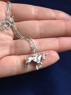 Retro Solid Sterling Silver Unicorn Necklace by GuiltyRidesRockHorse on Etsy