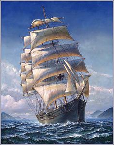 Four-masted barque. Painting by John Stephens.