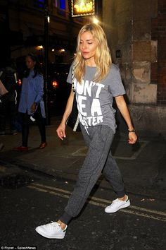 Sienna Miller wearing Adidas Stan Smith Sneakers and Proenza Schouler Large Hex Whipstitch Bucket Bag