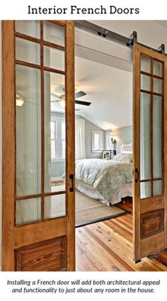 French Doors. Add a splash of magnificence to your home with internal or external french doors. They're a creative way to expose the house to infinite, flawless sun light and are available in different range of designs and materials, ranging from hard or softwood to fibre glass or UPVC. External Doors. 18242203 Closet With Doors. Top Ten Reasons For Choosing French Doors