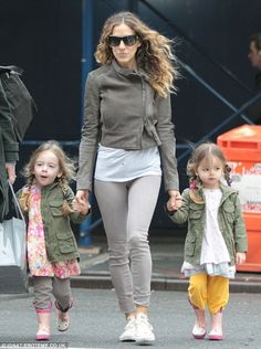Rain or shine! Sarah Jessica Parker makes sure her fashion forward girls are stylish even when the skies are threatening rain