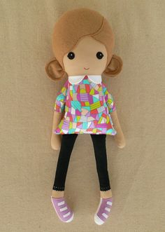 Fabric Doll Rag Doll Girl in Colorful Geometric by rovingovine